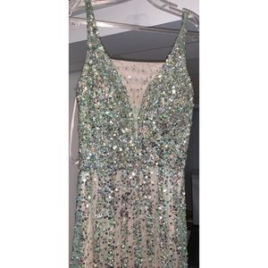 Mermaid Sea-Green Embellished Beaded Gown